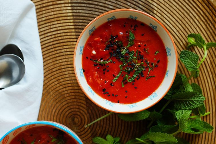 Bell Pepper Gazpacho with Mint