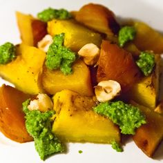 Roasted Beets and Pumpkin with Arugula Hazelnut Pesto