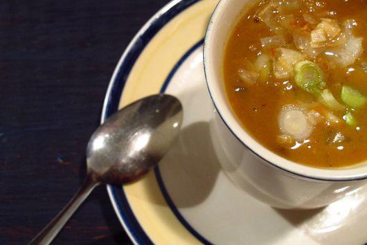Coconut curry red lentil soup