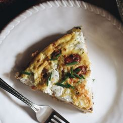 Chive, Herb Goat Cheese, and Tomato Frittata