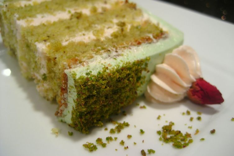 Goodnight Rose Pistachio Cardamom Cake With Rosewater Frosting
