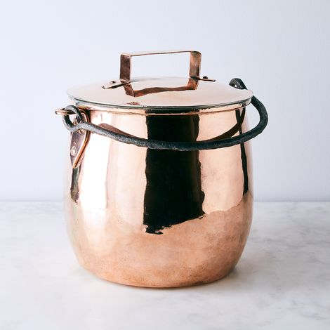 Vintage Copper Large Bellied Marmite Stockpot, Early 29th Century
