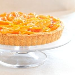Candied Winter Citrus Tart with Vanilla Custard, Dark Chocolate, & Flaked Salt in a Whole Wheat Almond Shortbread Crust