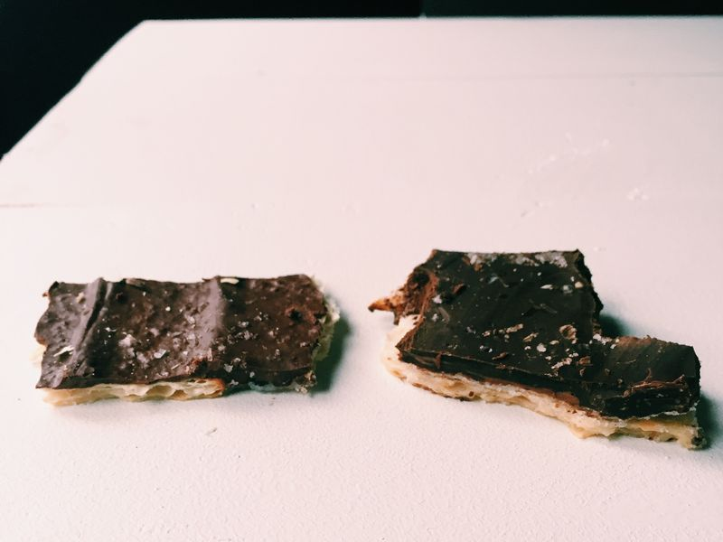 Thin chocolate (left) versus massively thick chocolate (right).