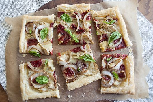 Sun Dried Tomato, Artichoke and Goat's Milk Brie Tart