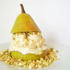No-Churn Pear & Parmesan Ice Cream With Roasted Pistachios