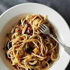 Spicy Eggplant Pasta + Gin Spritz