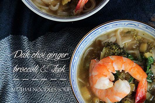 Pak choi, leek and broccoli noodle soup