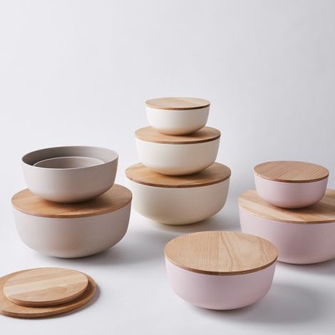 Simple Bamboo Lidded Bowls, Set of 3