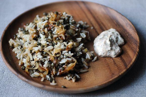Mujadarra with Spiced Yogurt from Food52