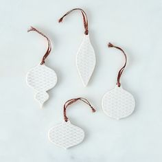 Etched Ceramic Holiday Ornaments (Set of 4)