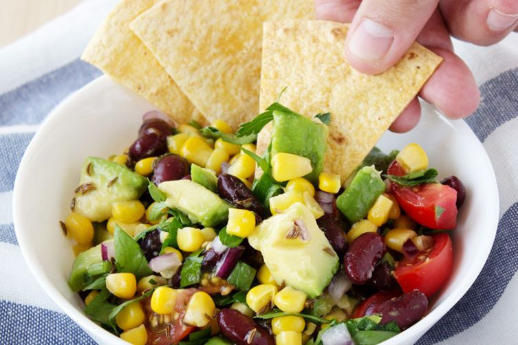 Black bean, corn and avocado salad with tortilla chips Recipe on ...