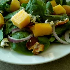 Melon, Bacon and Spinach Salad with a Melon Vinaigrette