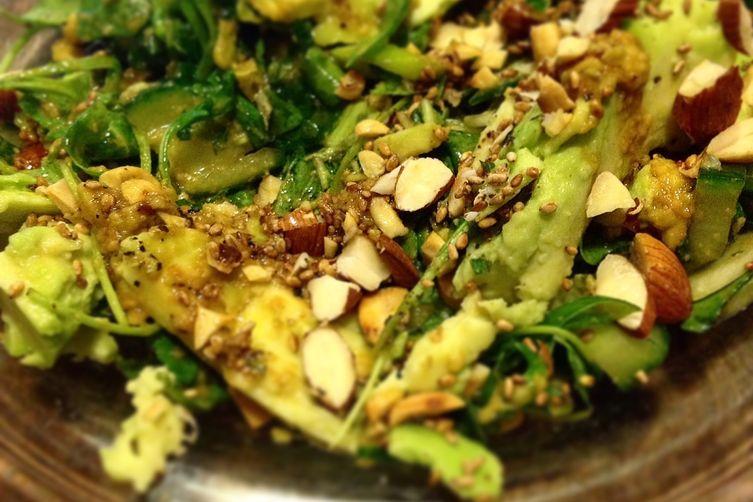 Avocado-Soy Dressed Cucumber & Rocket Salad