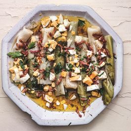 Leeks with Mustard-Bacon Vinaigrette