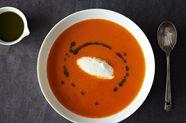 Roasted Tomato, Whipped Burrata, and Basil Oil Soup