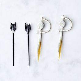 Hand-Carved Horn Cocktail Picks (Set of 4)