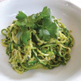 Zucchini Pasta with Almond Pesto