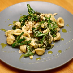 Dijon Chicken, Broccolini and Kale Orecchiette