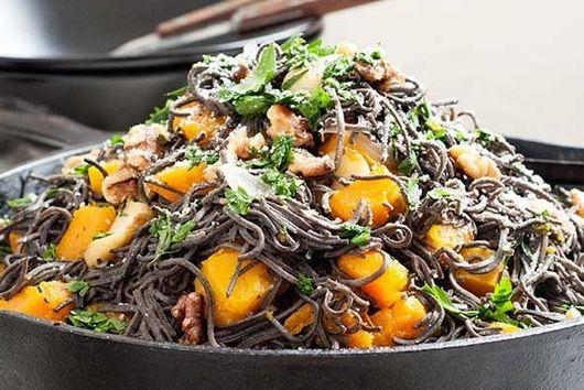 Roast Pumpkin, Avocado, Feta & Black Bean Spaghetti