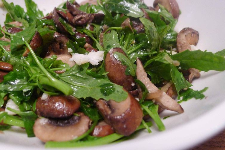 Roasted Mushrooms with green garlic, lambsquarter and aged goat cheese