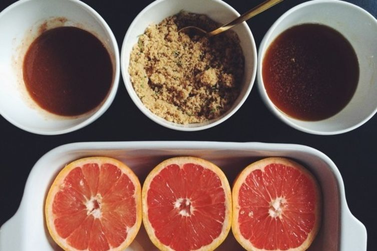 Broiled Grapefruit with Maple Syrup and Ginger