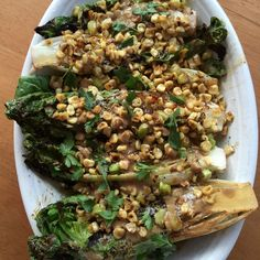 Grilled Romaine with Corn, Leek, and Anchovy Dressing