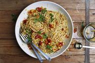 Pasta with Corn, Slow-Cooked Tomatoes, and Garlic Confit