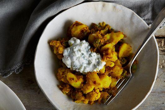 Smashed Indian Potatoes with Lazy Raita
