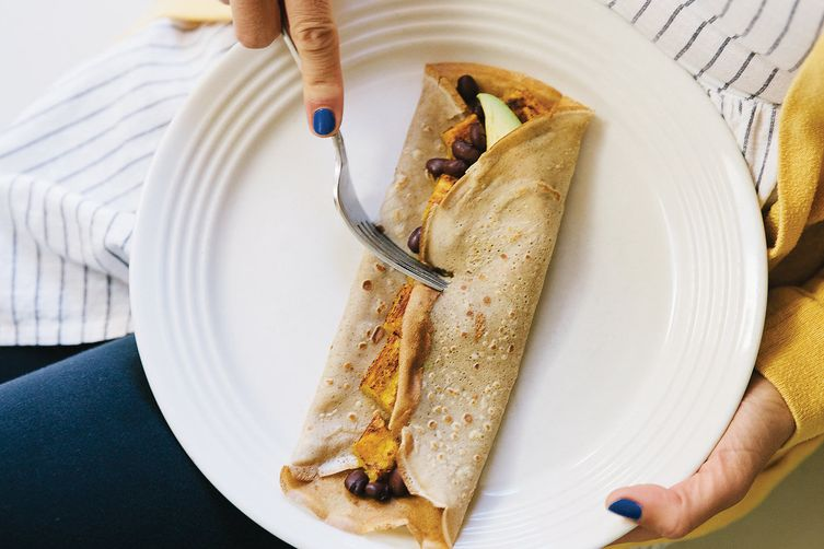 Buckwheat Crêpes with Delicata Squash, Black Beans, and Avocado