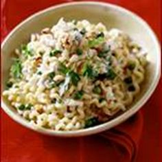 Chilled Pasta Salad with Chicken, Pears, Blue Cheese, and Basil