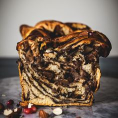 Vegan Caramelised Pear and Chocolate Babka