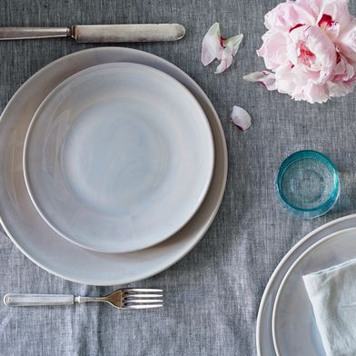 Grey Swirl Glass Dinner & Cake Plates (Set of 4)