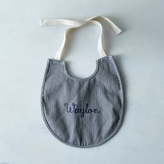 Railroad Stripe Baby Bib with Monogram Option