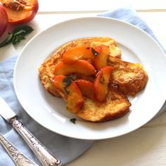 French toast with nectarines roasted