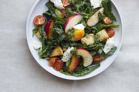 Summer Panzanella Salad with Pesto Vinaigrette