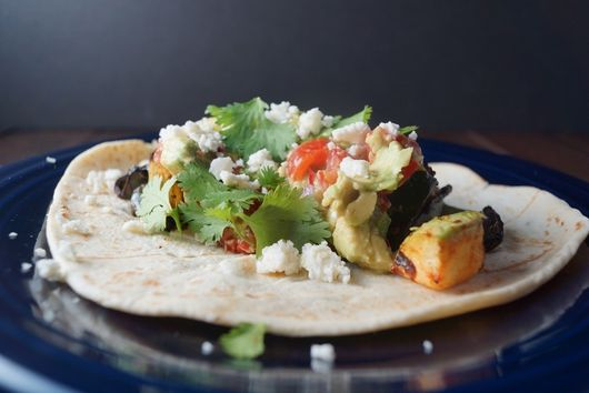 GRILLED SUMMER SQUASH TACOS WITH AVOCADO SALSA