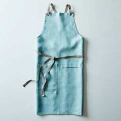 Ocean Blue Cross-Back Kitchen Apron with Slate Ties