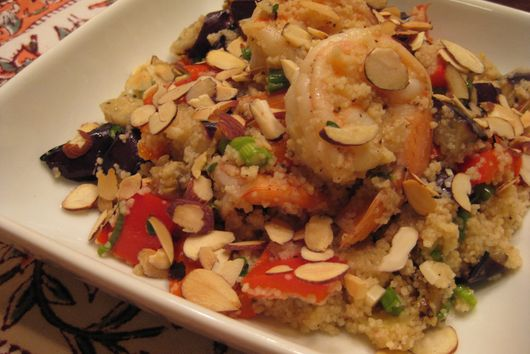 Shrimp Couscous with Grilled Eggpant and Peppers