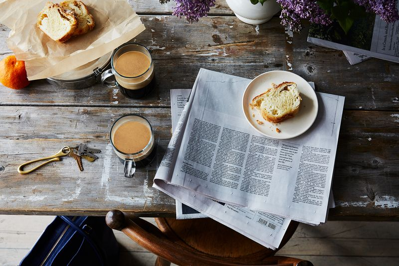 Coffee? Check. Newspaper? Check. Pastry for now and for the afternoon slump? CHECK!