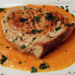 Seared Swordfish with Tomato-Saffron Coulis