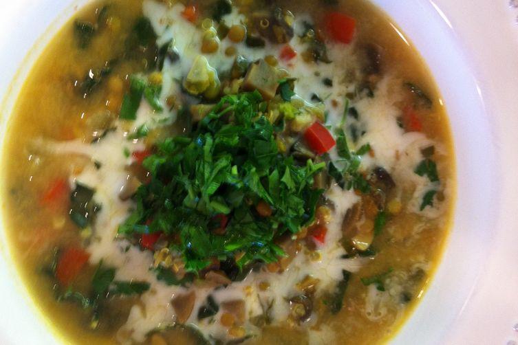 delicious vegan soup with mung beans & kale