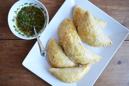 Caramelized Onion and Cheese Empanadas with Chimichurri