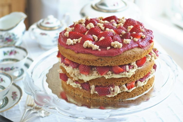 """Strawberry Layer Cake with Pastry Cream Filling and """"White Chocolate"""" Covered Cookie Crumbs"""