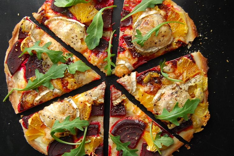 Beetroot and Goats' Cheese Tarte Flambée