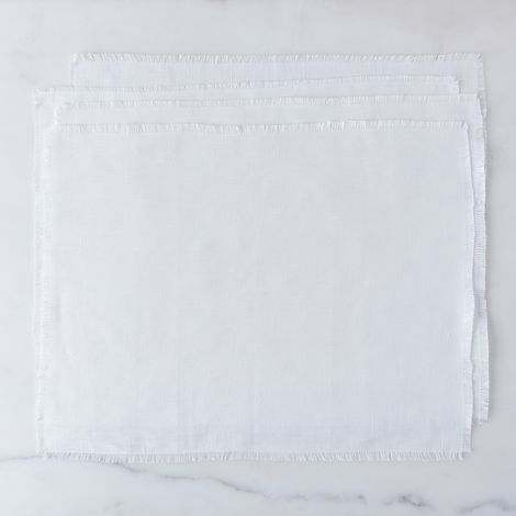 White Fringed Linen Placemats (Set of 4)