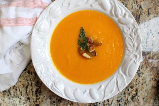 Creamy Carrot Ginger Soup with Roasted Potatoes