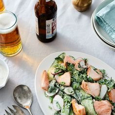 Salmon Cucumber Salad with Radishes and Yogurt Dressing