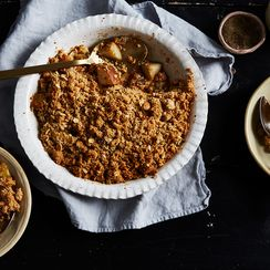 Black Pepper Pear Crisp with Salted Oat Streusel