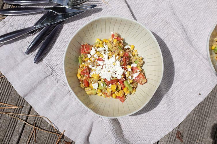 Corn Salad with Tomatoes, Avocado, Quinoa and Feta